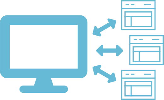 Computer icon with multiple web page icons